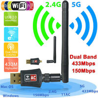 300Mbps Dual Band 2.4/5Ghz Wireless USB WiFi Network Adapter Antenna 802.11AC IH