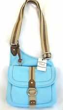 NEW FOSSIL BB BIRDIE BLUE BELLE TRAVELER FLAP CANVAS CROSSBODY HAND BAG