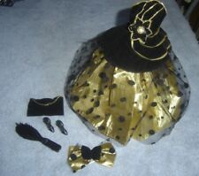 1990s Barbie Black Gold Gown Dress Strappy Shoes Purse  Hair Bow Outfit 6 EUC