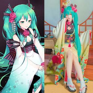 VOCALOID Hatsune Miku Custom Furisode Kimono Yukata Dress Kostüm Cosplay Costume