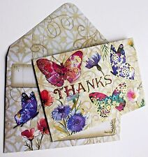 Punch studio greeting cards party supplies ebay punch studio set of 5 gold foil thanks blank note cards floral butterflies m4hsunfo