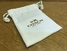 """COACH White Satin Dust Bag Store Protect Jewelry or Key Chain Size 2.5"""" x 2.5"""""""