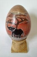 Vintage KENYA Hand Carved Stone Egg Etched & Painted Elephant with Wood Stand