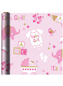 BABY GIRL JUMBO WRAPPING PAPER ROLL GIFT WRAP ANY OCCASION 40 SQ. FEET NEW