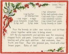 VINTAGE CHRISTMAS WHITE RED HOLLY BERRIES FRUIT CAKE W/ BRANDY RECIPE CARD PRINT