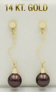 GENUINE 7 mm TAHITIAN PEARL DANGLING EARRINGS 14K YELLOW GOLD * New With Tag *