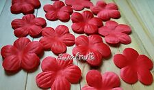 25pcs RED Fabric Faux Silk Flowers Applique Patch Sew on Wedding Lace