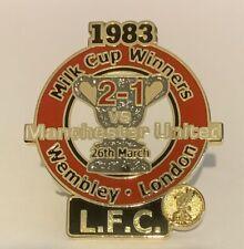 Liverpool Danbury Mint Victory Pin Badge & Card 1983 Milk Cup Winners v Man Utd