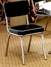 (4) RETRO CHROME PLATED DINING CHAIR WITH  BLACK/WHITE VINYL SEAT AND BACK