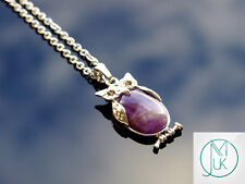 Amethyst Owl Natural Gemstone Pendant Necklace 50cm Healing Stone Chakra