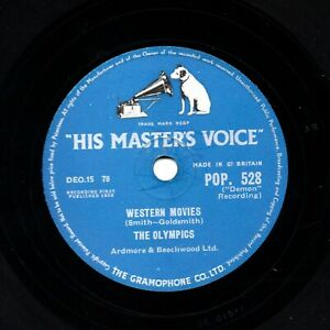1958 CLASSIC POP NOVELTY THE OLYMPICS 78 WESTERN MOVIES / WELL! HMV POP528 V+/E-