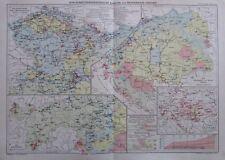 1912 Österreich-Ungarn Wirtschaftsgeographische Karten - 41x29cm alte Karte map