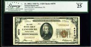 1929 $20 1st National Bank Canonsburg, PA Fr. 1802-1 Ty.1 Ch#4570 VF25 #C000834A
