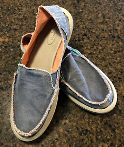 Sanuk Slip On Shoe Denim  Blue Raw Edge Fray Women's 8 Worn Once