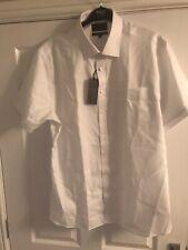Bnwt M&S White Slim Short Sleeve Pure Cotton Non Iron Shirt 18.5 Collar
