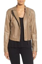 NEW Rudsak Women's Zip Detail Leather Moto Jacket - Beige L $595