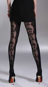 Mura 20/50Den Microfiber Tights Embroidered Flower Line Inserts on Front OR Back