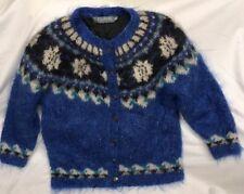 Icelandic Design Cardigan Sweater Mohair Wool Nylon Women M Blue