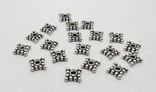 Bali Silver Spacer Beads 6mm Square Shape Silver Polished 20 Pieces