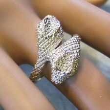 SILVER second hand heavy double headed snake ring