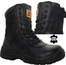 Mens Leather Military Boots Army Combat Police Patrol Security Ankle Work Shoes