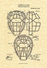 Patent Print - Antique Catcher's Mask Baseball 1911 Art Print. Ready To Frame!