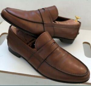 Prada mens loafers brown leather slip on shoes eu42 Uk7. 5 us8