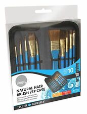 Daler Rowney Simply naturale dei capelli Pennello caso zip Set per Acquerello