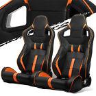 Blackorange Strip Pvc Leather Leftright Elite Style Racing Bucket Seats Slider