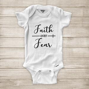 Faith Over Fear Christian Cross Jesus Church Religious Baby Infant Bodysuit