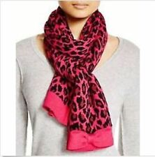 KATE SPADE Leopard Print Scarf Muffler Raspberry Pink & Black