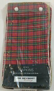 """Kim Seybert Christmas Plaid Dinner Napkins Red Green Gold 21"""" Set of 4"""