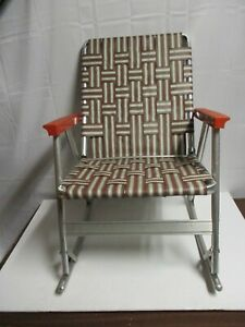 Vintage Aluminum Folding Webbed Lawn Patio Rocking Rocker Chair Camping Brown