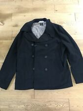 Mens Paul Smith Double Breasted Wool Coat Jacket in Black Size XL