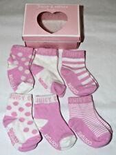JUICY COUTURE BABY GIRL PINK STRIPE POLKA DOT 6 PACK SOCKS   0-12 MTS   MSRP$58