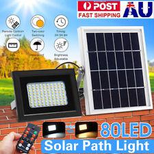 80LED Solar Panel Light Sensor Floodlight Outdoor Garden Street Wall Lamp+Remote
