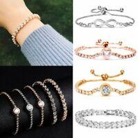 CZ Crystal Silver Rose Gold Slider Bracelet Adjustable Bangle Women Jewelry Gift