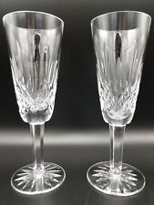 1 Pair Waterford Crystal Lismore Toasting Champagne Flutes , Mint condition
