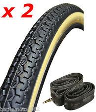 """N°2 Copertone / Pneumatico 26"""" Bici 26 x 1 3/8 NERO / PARA + N°2 Camera Bici"""