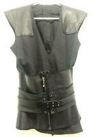 TV Show Wardrobe Prop Black Warrior Ninja Vest Belt Corset Leather Shoulder