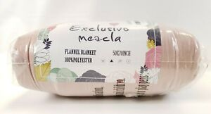 """Exclusivo Mezcla Large Flannel Pink Throw Blanket 50"""" X 70"""" New Sealed"""