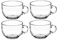 Set of 4 Large Clear Glass Coffee Mugs Soup Mugs 330ml Capacity