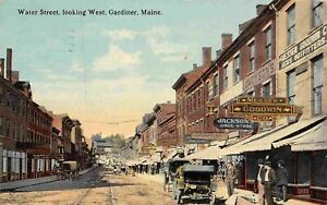 Water Street Looking West Drug Store Gardiner Maine 1912 postcard