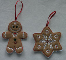 Handcrafted Machine Embroidered Ornaments - Christmas Gingerbread Star Set