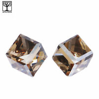 Men's Women's Iced Crystal 3D Cube Push Back Post Earrings Champagne