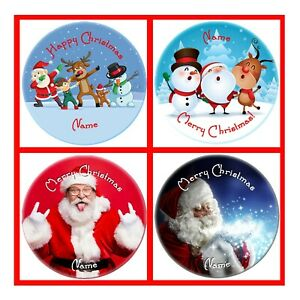 PERSONALISED CHRISTMAS BADGES LARGE 58MM GIFT, SANTA, REINDEER, ELF, SNOWMAN