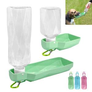 Dog Water Bottle Collapsible Portable Drink Travel Dispenser Feeder Bowl 500ml