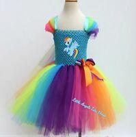 Rainbow Dash My Little Pony Tutu Dress, Handmade Fancy Dress Costume, Halloween