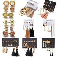 Fashion Boho Pearl Crystal Tassel Earrings Set Women Ear Stud Jewelry 6 Pairs
