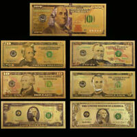 7PCS Gold Dollar Bill Full Set Gold Foil Banknote USD 1/2/5/10/20/50/100